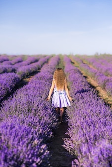 Een meisje in een lavendelveld. een kind loopt in de provence. foto van de achterkant,