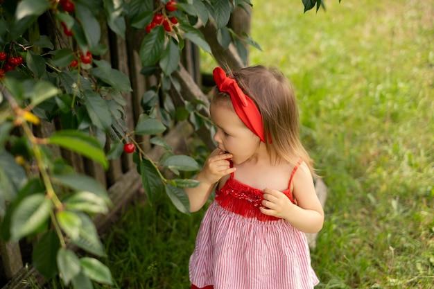 Een meisje in een rode jurk stopt rijpe, sappige kersenbessen geplukt van een boom in haar mond her