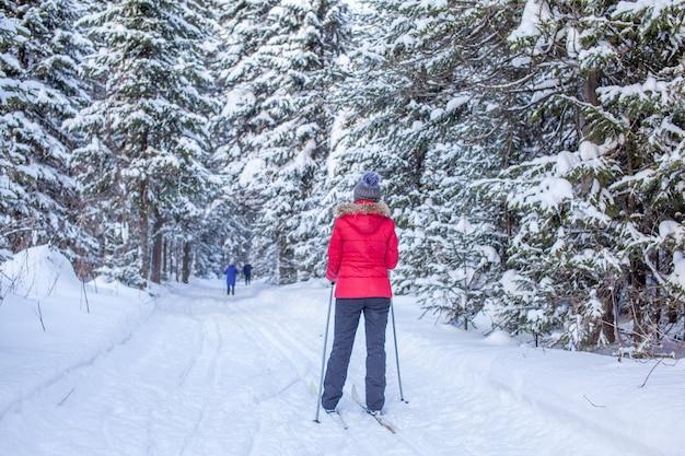 Een meisje in een rood jasje gaat in de winter skiën in een besneeuwd bos. het uitzicht vanaf de achterkant.