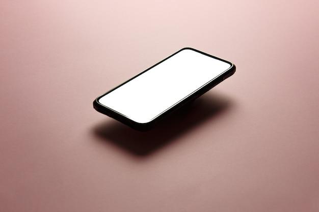 Een minimalistisch mock-up plat beeldontwerp van een mobiele telefoon