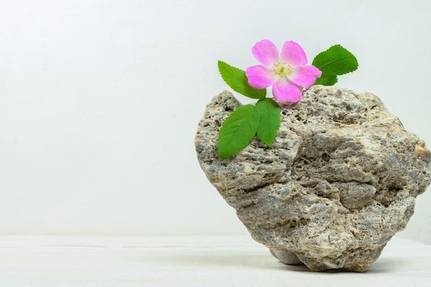 Een minimalistisch tafereel van natuursteen met bloemen op een witte houten tafel