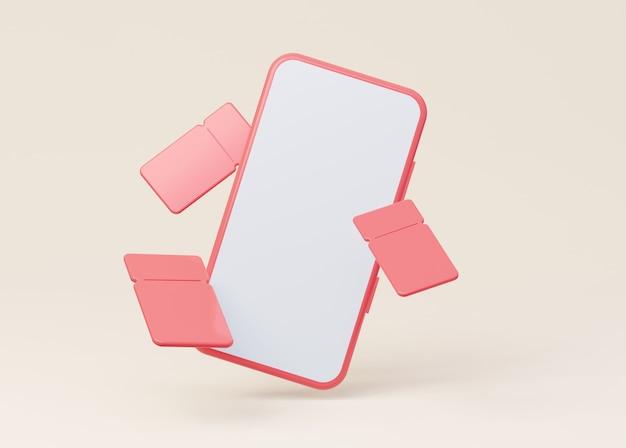 Een mockup van een telefoon met een leeg wit scherm met vliegende coupons 3d-rendering