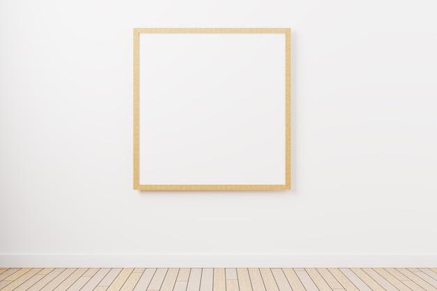 Een mockup van een vierkante fotolijst aan de muur met een minimalistisch design. 3d-rendering Premium Foto