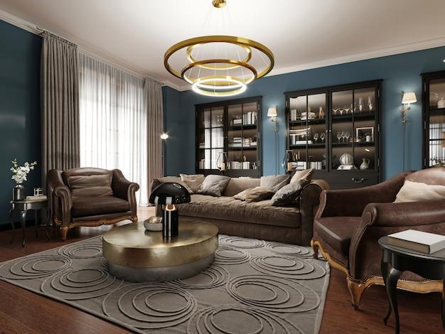 Een moderne eclectische woonkamer in donkere kleuren, met een zachte leren bank en een fauteuil. zwarte inbouwkast met boekenkast.