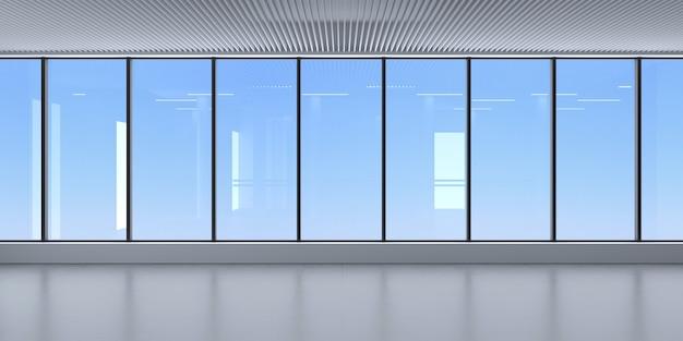 Een moderne kamer met een panoramisch raam en uitzicht op de lucht