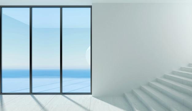 Een moderne kamer met een panoramisch raam en uitzicht op zee.