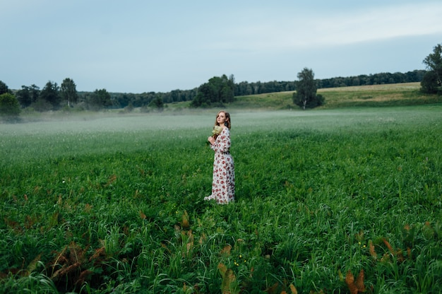 Een mooi meisje in een kleurrijke jurk staat 's avonds op een weide tegen een achtergrond van mist.