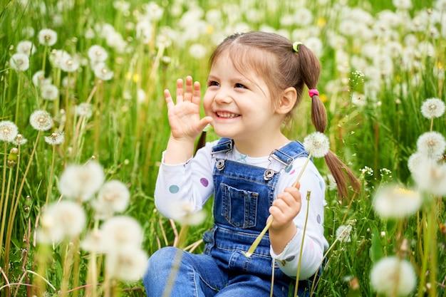 Een mooi vrolijk grappig meisje met twee staarten zit op een veld met paardebloemen en lacht