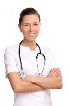 Een mooie en jonge arts op wit