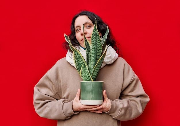 Een mooie vrouw die een pot met slangenplanten op rode muur houdt