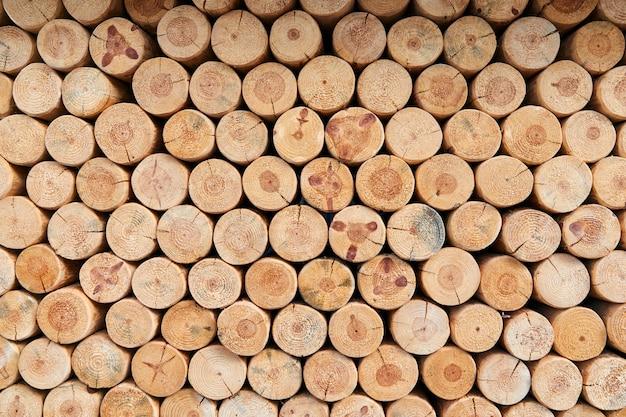 Een muur van vele gevelde boomstammen die op elkaar liggen
