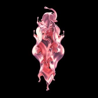 Een mystieke luxe plons, met roze glanzende parelmoertinten. 3d-afbeelding, 3d-rendering.