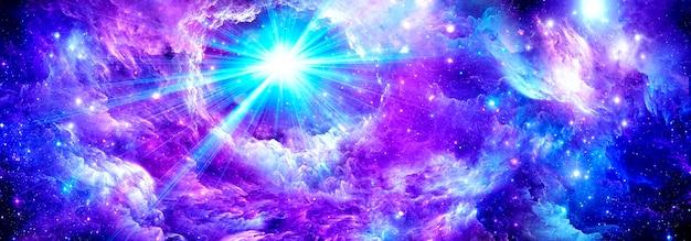 Een nevel en een sterrenhoop in de verre ruimte. elementen van deze afbeelding zijn geleverd door nasa.