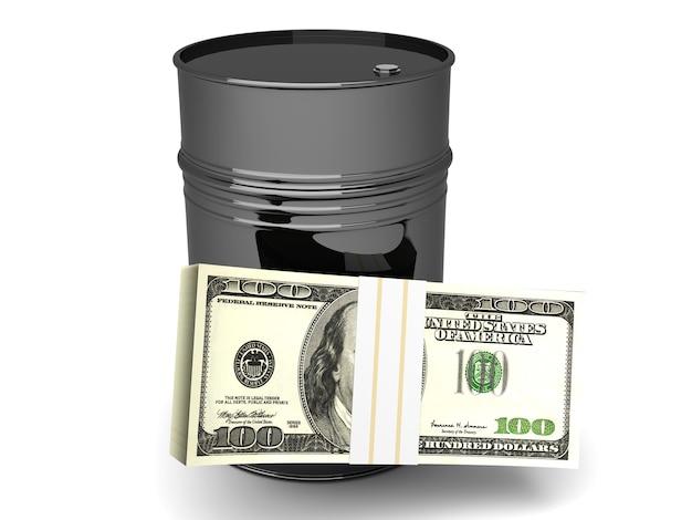 Een oliebarrel met dollarbiljetten.