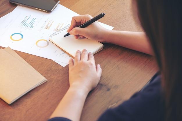 Een onderneemster die op notitieboekje schrijft en aan bedrijfsgegevens en document op de lijst in bureau werkt