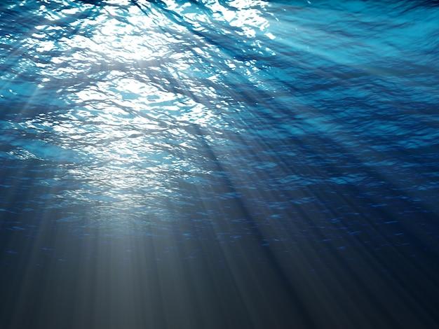 Een onderwaterscène met zonnestralen die door het water glanzen