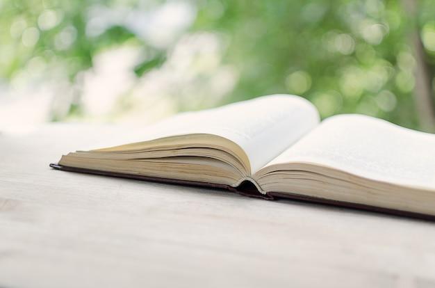 Een open boek bij een open venster.