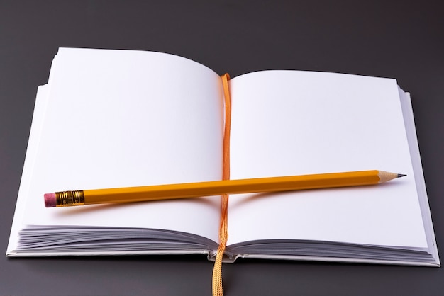 Een open notitieboekje met een potlood op donker