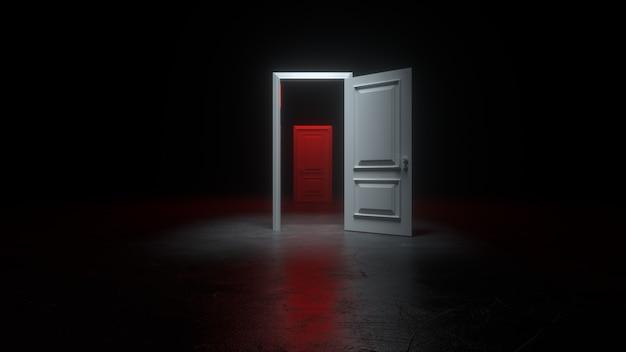 Een open witte en rode deur naar een donkere kamer met helder licht