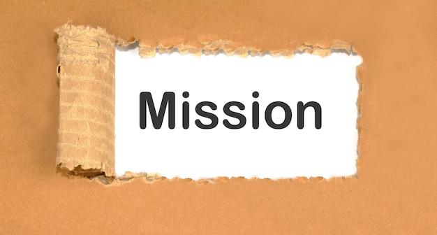 Een opgeblazen papier met het woord mission erop.