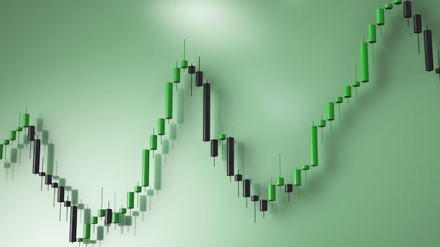 Een opwaartse trend in de markt 3d render groene achtergrond