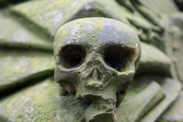 Een oud beeld van een menselijke schedel op een graf om de dood voor te stellen
