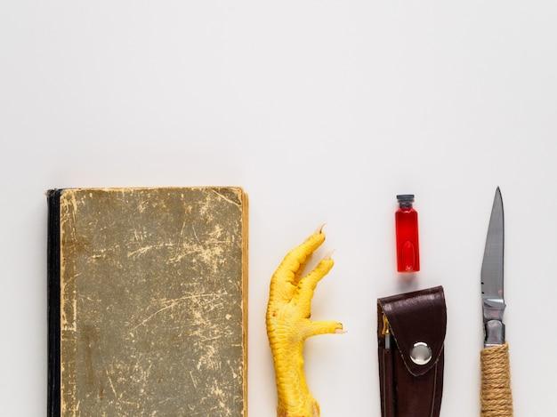 Een oud boek, een kippenpoot en andere attributen van het occulte. artikelen voor magie en waarzeggerij op een witte achtergrond. ruimte voor tekst.