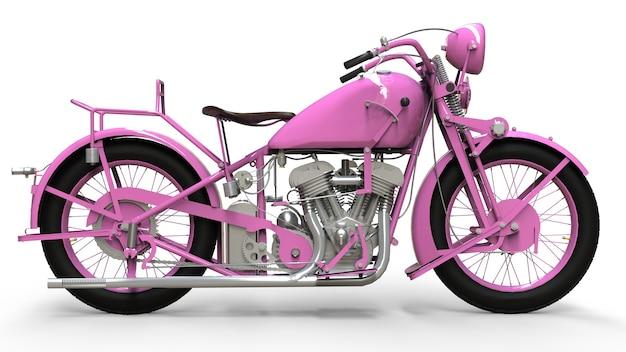 Een oud roze motorfiets uit de jaren '30 van de 20e eeuw. een illustratie op een witte achtergrond met schaduwen van op een vliegtuig.