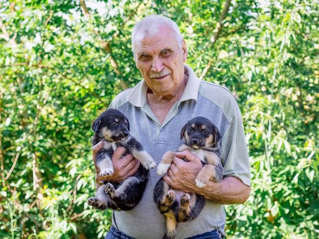 Een oudere man houdt twee puppy's op zijn handen. manifestatie van liefde voor dieren