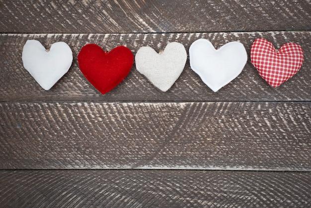 Een overvloed aan harten op een rij