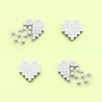Een paar harten gemaakt van suikerklontjes ligt op een trendy pastel limoen