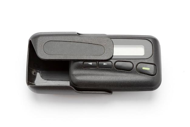 Een pager of een pieper, pager kan berichten ontvangen die geïsoleerd zijn op een wit oppervlak.