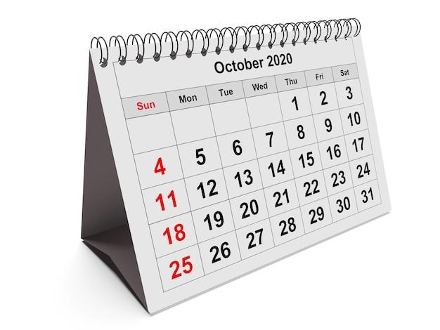 Een pagina van de jaarlijkse maandkalender - maand oktober 2020