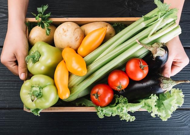 Een persoon die container met verschillende verse groenten houdt
