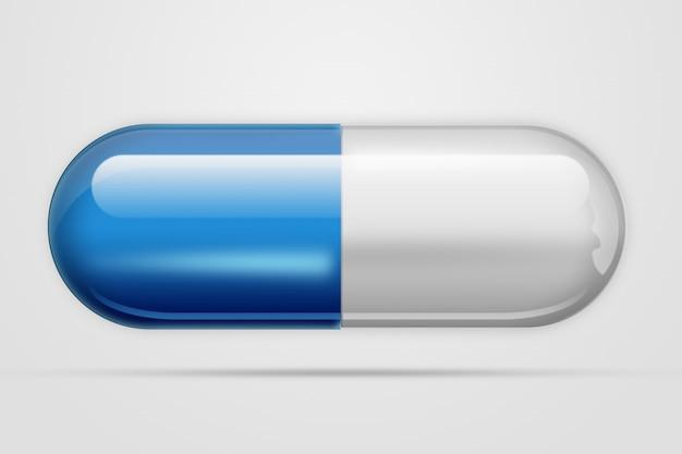 Een pil in forma-capsule van blauwe kleur, een licht