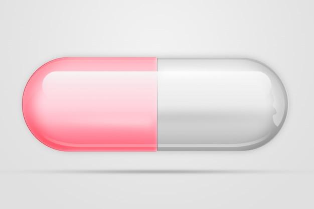 Een pil in forma-capsule van roze kleur, een licht