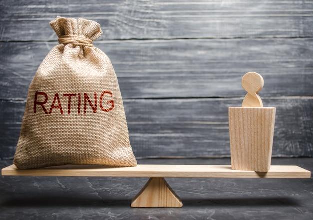 Een politicus en een tas met een rating