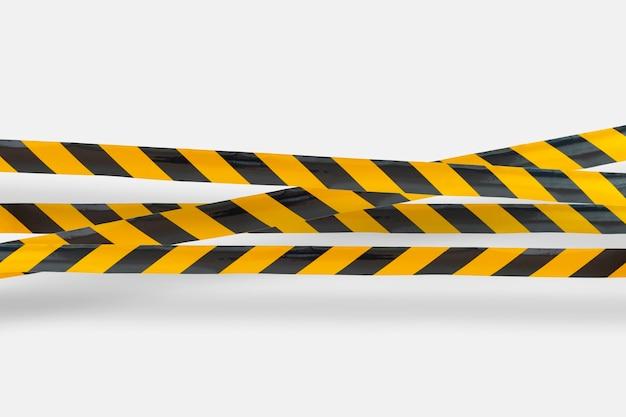 Een politie-waarschuwingslijngebied, niet oversteken, veiligheidswaarschuwing zwarte en gele tabe