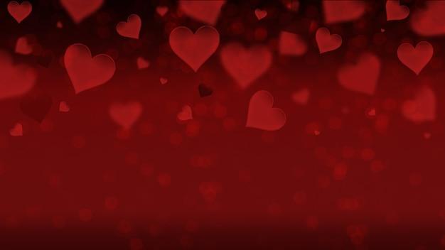 Een posterbanner voor verkoop en kortingen met een eenvoudige afbeelding van hartjes op een rode achtergrond, liefde, vrijgezellenfeest, bruiloft.