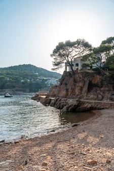 Een prachtige baai aan de kust van tamariu op een zomerse middag in de stad palafrugell. girona, costa brava in de middellandse zee