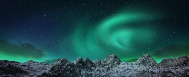 Een prachtige groene aurora die over de heuvels danst.
