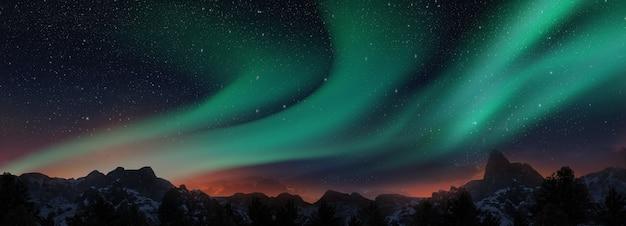 Een prachtige groene en rode aurora die over de heuvels danst. 3d render