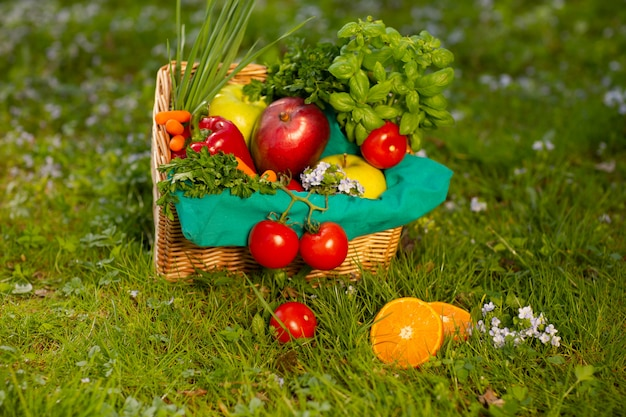 Een prachtige rieten mand met groenten en fruit op de achtergrond van groen gras