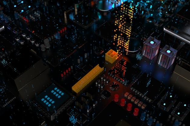 Een processorchip op een moederbord is een printplaat met microchips, processoren en andere computeronderdelen in de abstractie van de stad van de toekomst.