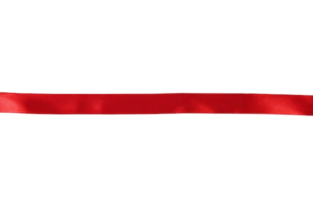 Een recht rood lint scheidt witte ruimte