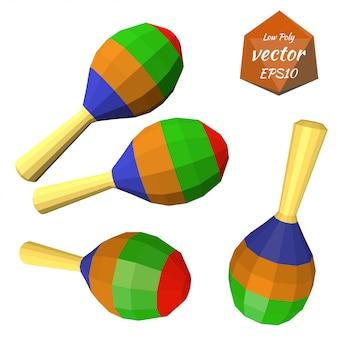 Een reeks van kleurrijke maracas die op witte achtergrond wordt geïsoleerd. muziekinstrument. laag poly-stijl.