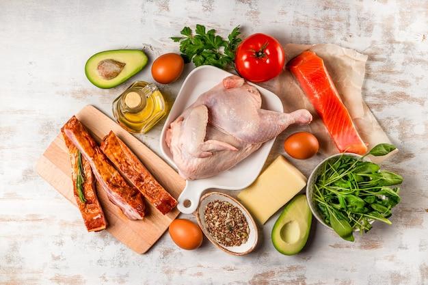 Een reeks verschillende producten voor het keto-dieet. kip, vlees, eieren, groenten, avocado, kaas