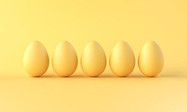 Een rij van eieren eieren op gele achtergrond. minimalistische stijl. 3d-weergave