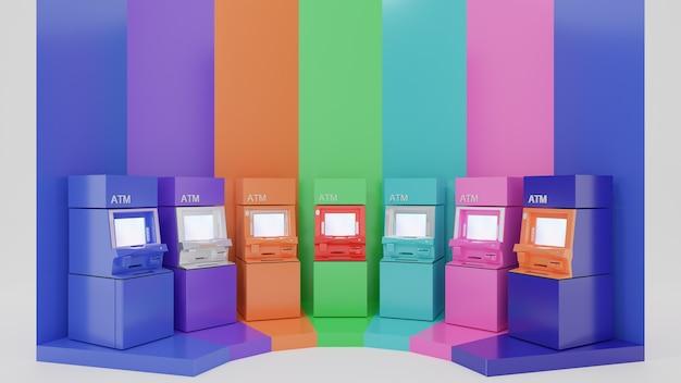 Een rij van kleurrijke geldautomaten. 3d-rendering afbeelding.