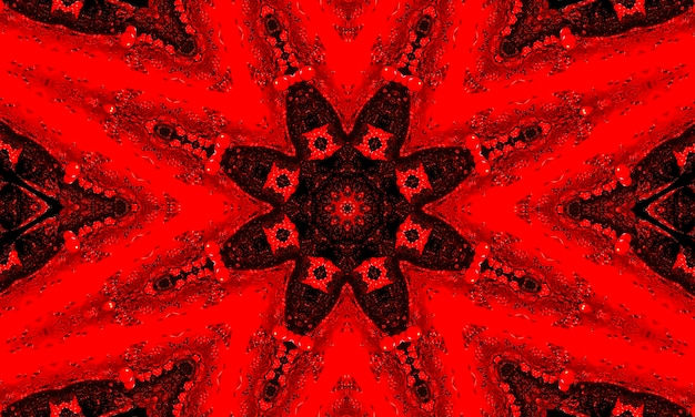 Een rode gloeiende bloemencaleidoscooppatroonachtergrond.
